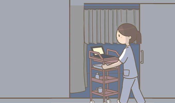 夜勤をしている看護師のイメージイラスト