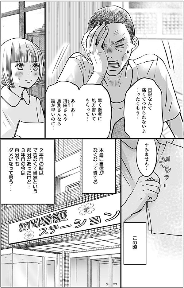 「日記なんて痛くてつけてられないよ…ったくもう…早く医者に処方書いてもらって…。あーあー持田さんや馬渕さんなら話が早いのに…。」 持田さんや馬渕さんだったらよかったのに、という木元さんの言葉に花は「すみません…」と答えることしかできません。 (この頃本当に自信がなくなってきてる。2年目の時はできなくて当然という部分があったけど…。3年目の今は自分でもダメだなって思う…) と花は落ち込みます。