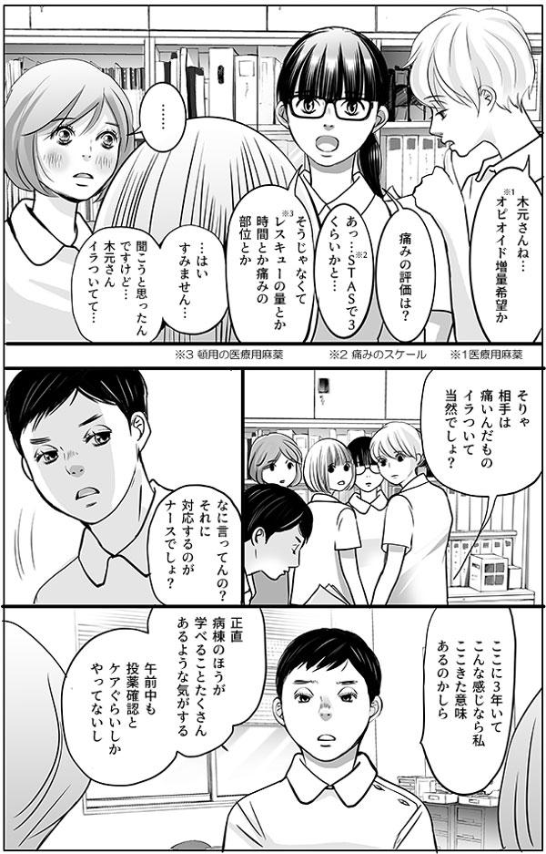 場面は代わり、事務所に戻って持田さん、馬渕さん、増岡さん、花、幸代で共有をしています。 「木元さんね…(※1)オピオイド増量希望か」 と、持田さん。馬渕さんは花に質問をします。 「痛みの評価は?」 「あっ…(※2)STASで3くらいかと…」 「そうじゃなくて(※3)レスキューの量とか時間とか痛みの部位とか」 「…はいすみません…聞こうと思ったんですけど、木元さんイラついてて…」 (※1医療用麻薬、※2 痛みのスケール、※3 頓用の医療用麻薬) すると、馬渕さんと花の会話を見かねた様子で増岡さんが入ってきました。 「そりゃ相手は痛いんだもの。イラついて当然でしょ?なに言ってんの?それに 対応するのがナースでしょ?ここに3年いてこんな感じなら私ここきた意味あるのかしら。正直病棟のほうが学べることたくさんあるような気がする。午前中も投薬確認とケアぐらいしかやってないし。