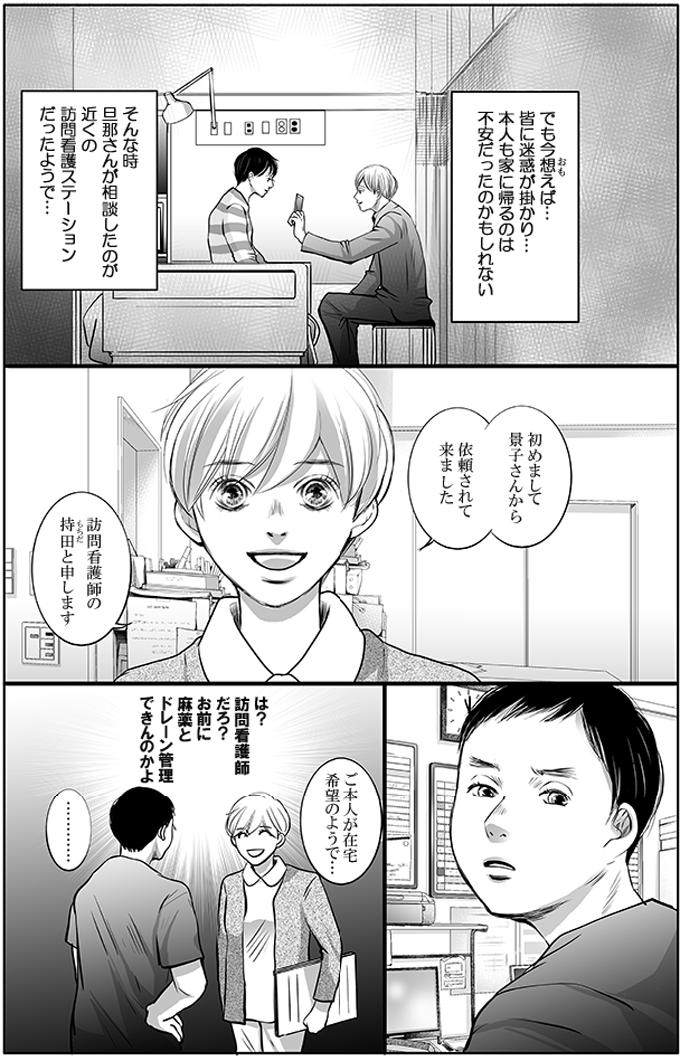 でも今想えば…皆に迷惑が掛かり…本人も家に帰るのは不安だったのかもしれない。そんな時旦那さんが相談したのが、近くの訪問看護ステーションだったようで…。後日、「初めまして景子さんから依頼されて来ました。訪問看護師の持田と申します。」と持田さんが来ましたが、増岡さんは(は?訪問看護師だろ?お前に麻薬とドレーン管理できんのかよ)と悪態をつきました。