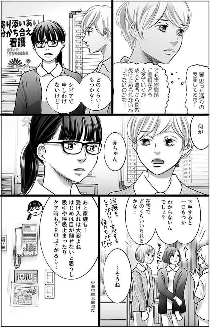 持田さんは、(皆思った通りの反応してるな。でも実際問題ご両親をどう支えていくか成人と違うから悩む受け止められないんじゃないのかな…)と冷静に状況を判断していました。同僚の馬渕さんは「どのくらい…もつかな…シビアで申しわけないけど…。」と持田さんに質問しました。「下手すると一日もつかわからないんでしょ?在宅でどのくらいいられるかな…。あと家族も…受け入れは大変よねはじめは目が離せないと思うし。吸引や呼吸止まったりケア時もSPO2下がるし…。」と心配な点をあげました。