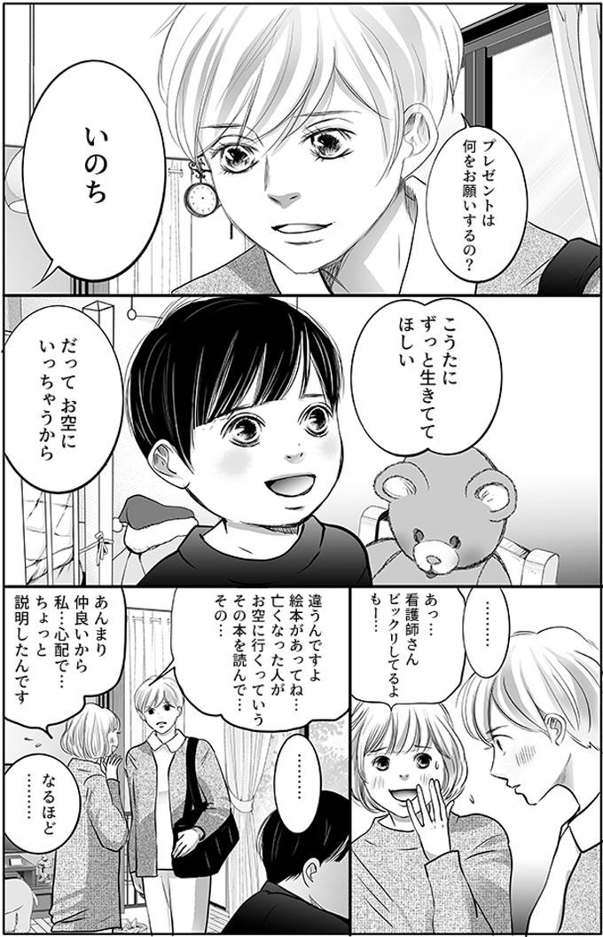 持田さんは「プレゼントは何をお願いするの?」としょう君に聞きました。するとしょう君は「いのち」と答えました。「こうたにずっと生きててほしい。だってお空にいっちゃうから」持田さんを見てはっきり言うしょう君に、持田さんは「………」と何も言えませんでした。そこへ母親がきて、「あっ…看護師さんビックリしてるよもー…」と言いました。「違うんですよ絵本があってね…亡くなった人がお空に行くっていうその本を読んで…その…あんまり仲良いから私…心配で…ちょっと説明したんです」と話す母親に「なるほど…」と持田さんは言いました。