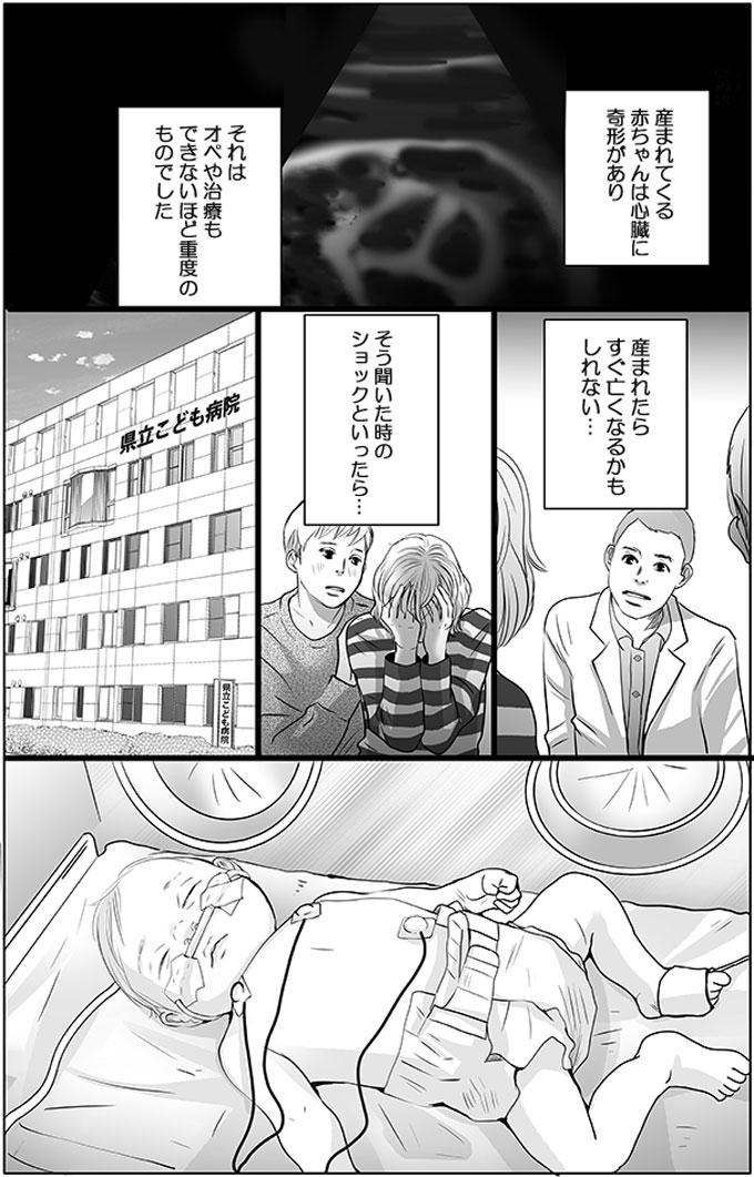 産まれてくる赤ちゃんは心臓に奇形があり、それはオペや治療もできないほど重度のものでした。産まれたらすぐ亡くなるかもしれない…そう聞いた時のショックといったら…。そんな不安の中赤ちゃんは産まれました。
