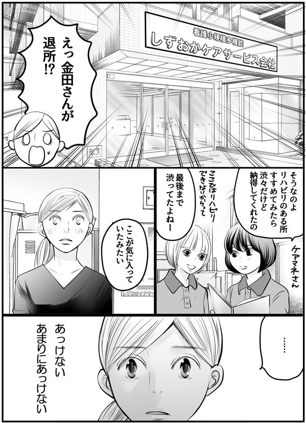 思いもよらないこと、それは金田さんが退してくれ所されるということでした。「リハビリのある所をすすめたら、渋々だけど納得たの。」「最後まで渋ってたよねー。ここが気に入っていたみたい。」と話をするケアマネさんと同僚の会話を聞きながら、『あまりにあっけない』と突然の出来事に驚き、私は立ち尽くしてしまいました。