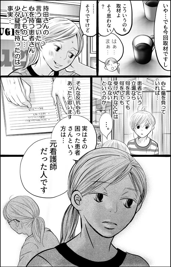 持田さんがいう傷ついた心を持つ患者さんというものに、患者という立場なら何を言っても受け入れなくてなならないのかと疑問と反抗心が少し芽生えた私は、躊躇しながら「実はその困った患者さんという方は…元看護師だった人です。」と理由を話すことにしたのでした。