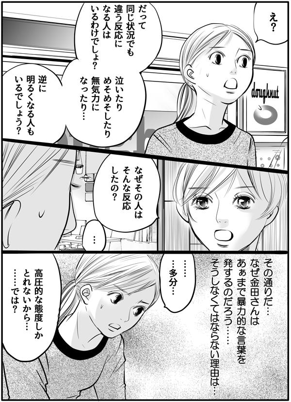 「え?」と聞き返す私に、「だって、同じ状況でも違う反応になる人はいるわけでしょ?泣いたりめそめそしたり無気力になったり、逆に明るくなる人もいるでしょう?」「なぜその人は、そんな反応をしたの?」と持田さんは言いました。『その通りだ…なぜ金田さんはあぁまで暴力的なのか…。』私は思いをめぐらせながら、「高圧的な態度しかとれないから…では?」と考えを伝えます。
