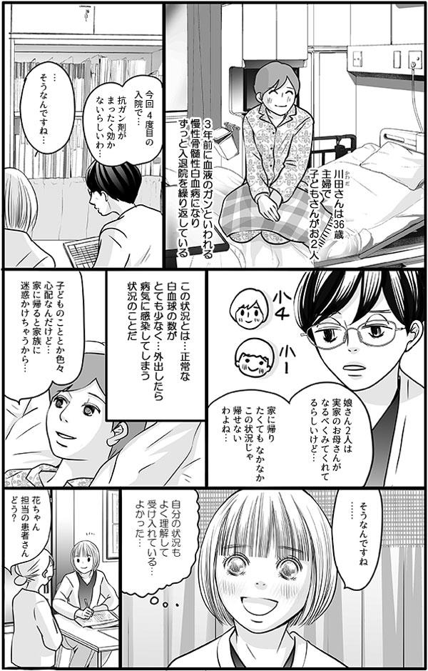 川田さんは36歳主婦で、子どもさんがお2人いる。3年前に血液のガンといわれる慢性骨髄性白血病になり、ずっと入退院を繰り返しています。川田さんは、正常な白血球の数がとても少なく、外出したら病気に感染してしまう状況なので、家に帰りたくても帰れませんでした。ですが川田さんは「心配だけど、家に帰ると家族に迷惑かけちゃうから…」と自分の状況もよく理解して受け入れているようでした。