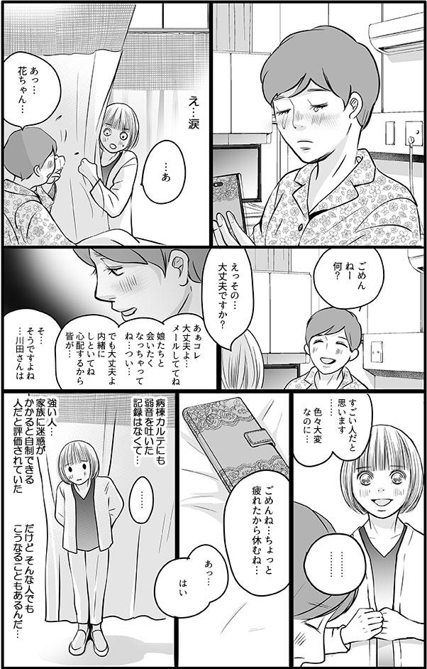 川田さんがスマホを見ながら涙を流しているところを見てしまいました。心配する花に、「ああ、メールをしていたら娘に会いたくなっちゃってつい…でも大丈夫だから内緒にしておいてね。」と涙を拭いて言いました。花は、その姿に「川田さんは、いろいろ大変なのにすごいと思います。」と伝えました。しばらくして、その場を離れながら、花は、カルテでも弱音を吐かず、自制できる人と評価された川田さんでも、こうなることもあるんだ…と思いました。