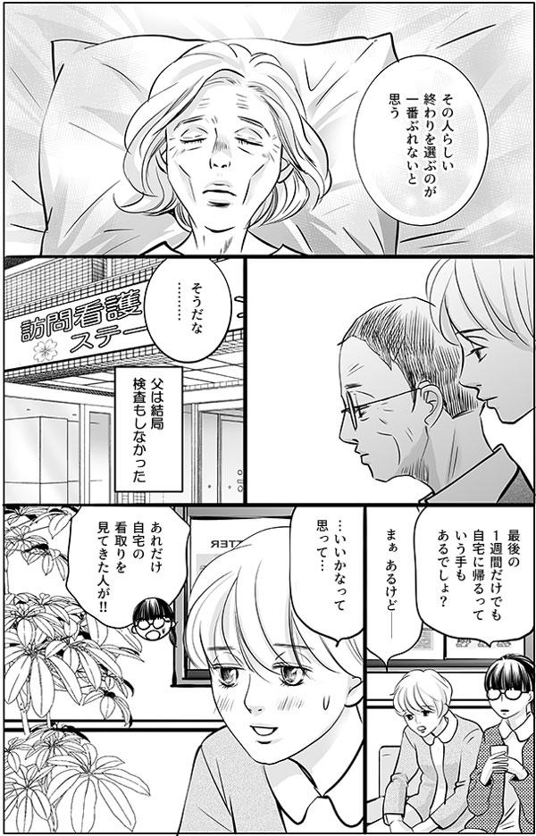 持田さんのお父さんは結局検査もしませんでした。「最後の1週間だけでも自宅に帰るっていう手もあるでしょ?」持田さんの、施設でのお父さんとのやりとりを聞いた馬淵さんは持田さんに尋ねますが、持田さんはちょっと照れたように「まぁ あるけど―…いいかなって思って…」と返事をされ、馬淵さんは「あれだけ自宅の看取りを見てきた人が!!」とあきれたようにツッコミをいれました。