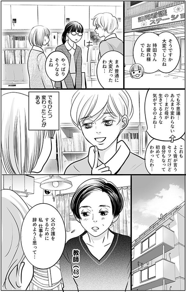その後、訪問看護ステーションで持田さんから持田さんのお母さんが亡くなった話を聞いた花ちゃんは、「そうですか大変でしたね。持田さんお疲れ様でした」と持田さんをいたわります。「まぁ普通に大変だったわね…。でも不思議…。あんまり変わらないの…まだ母が生きてるような気がするのよねー。これもよく皆が言うセリフだけど、自分もなって初めてわかったわ…」と感心したように持田さんは語ります。しかし、こう語る持田さんにも変わったと感じることがひとつあるようです。 例えば、48歳の教師をしている女性から、相談を受けたときのこと…「父の介護をするために、私仕事を辞めようと思って…。」