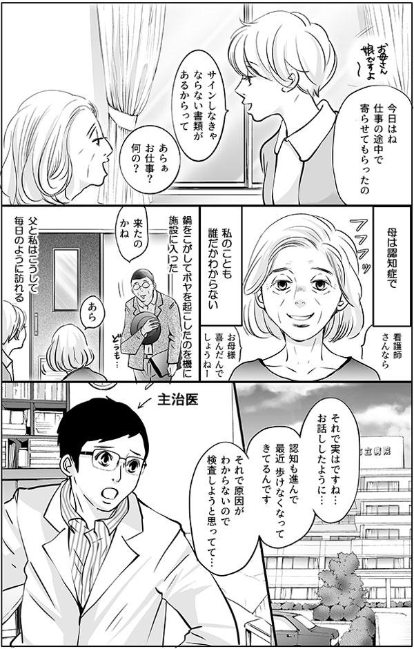 持田さんのお母さんは娘の持田さんがわからない様子ですが、持田さんは静かに話し続けます。「今日はね、仕事の途中で寄らせてもらったの。サインしなきゃならない書類があるからって」「あらぁお仕事?何の?」 ―母は認知症で、私のことも誰だかわからない。鍋をこがしてボヤを起こしたのを機に 施設に入った。父と私はこうして毎日のように訪れる― 主治医の先生によると、持田さんのお母さんは認知が進んで最近歩けなくなってきているとのこと。「それで原因がわからないので検査しようと思ってて…」