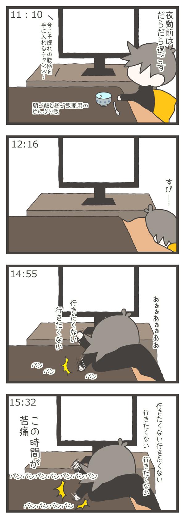 夜勤前、11時10分…ナスさんはテレビを見てだらだらしている。→12時16分…ナスさんはコタツで寝ている。→14時55分…ナスさんは「あぁぁあぁぁああ(仕事に)行きたくない」と葛藤し始める。→15時32分…(仕事に)行きたくないと、テーブルを叩きまくるナスさん。この時間が苦痛なのです…