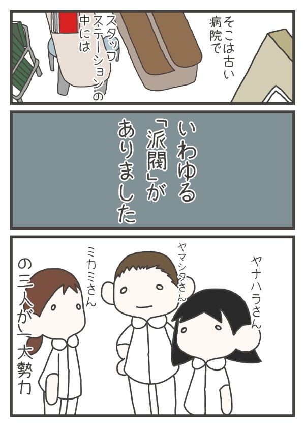 そこは古い病院で、スタッフステーションの中には、いわゆる「派閥」があり、ヤナハラさん、ヤマシタさん、ミカミさんという3人が一大勢力でした。