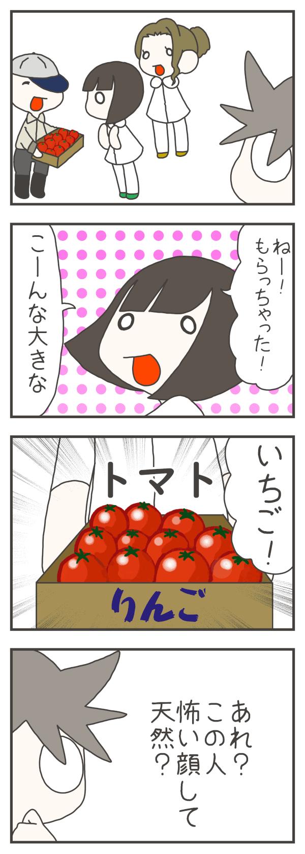 ナスさんもいただきものをもらったときのワカさんがトマトを大きないちごと間違えているのをみて(あれ?この人怖い顔して天然?)と感じたと言いました。
