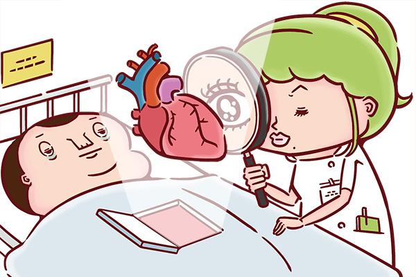 患者さんの心臓を虫メガネで覗き込む看護師のイラスト