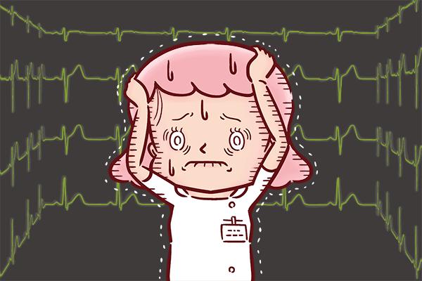 心電図の前で怯える看護師のイラスト