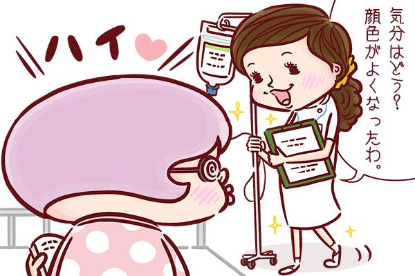 入院している患者さんに優しく声をかける看護師のイラスト