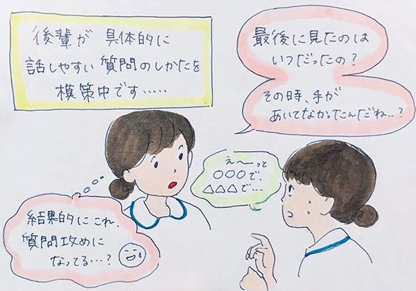 後輩看護師が状況を説明しやすい質問を模索している先輩看護師のイラスト