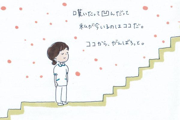 嘆いたって悩んだって自分がいるのはまだここだと素直に受け入れてがんばろうとする看護師のイラスト