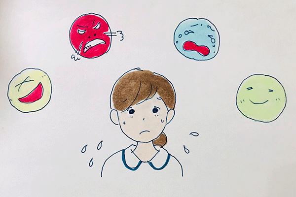 感情をコントロールするのは難しいことを説明するイラスト