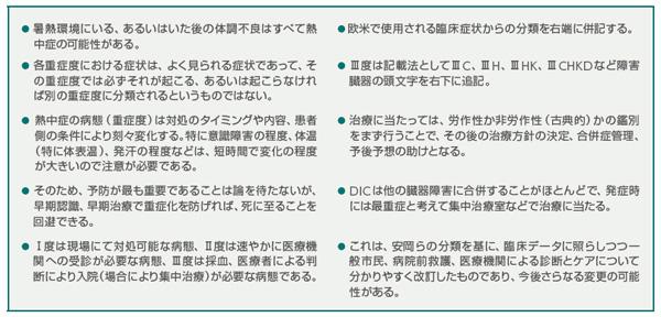 表1 日本救急医学会熱中症分類2015「付記」(熱中症診療ガイドライン2015より)