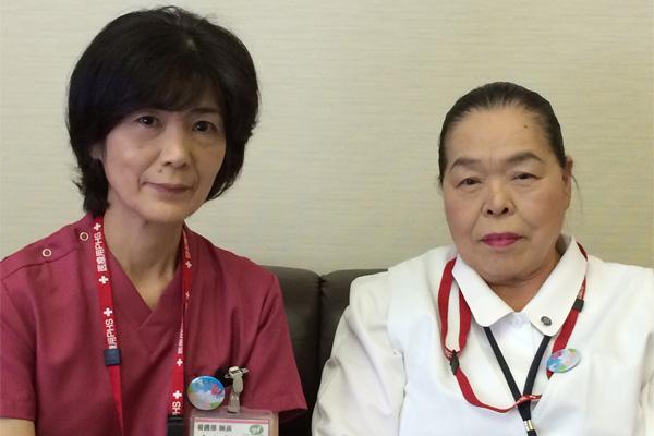 横浜総合病院副院長で看護部長の桃田寿津代氏(右)と看護部長代理の若木新子氏(左)