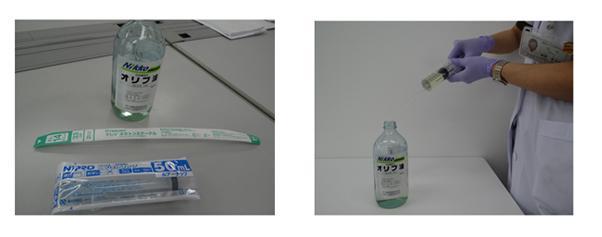 写真1 オリ―ブオイル浣腸で必要となる材料(左)と実際の手法(右)