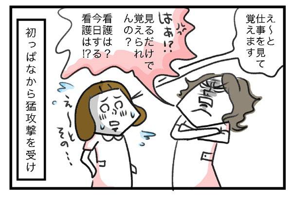 とげとげ。「えーと、仕事を見て覚えます」田中さん「はぁ?見るだけで覚えられんの?看護は?今日の看護は?」