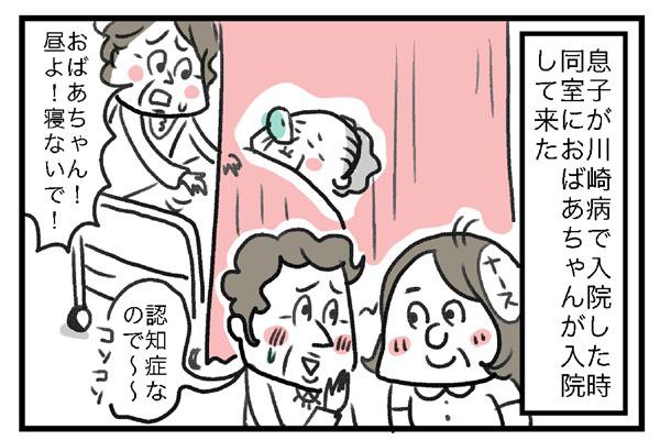 息子が川崎病で入院したとき、同室におばあちゃんが入院してきた。どうやら認知症もあるらしく昼間は眠っていた。