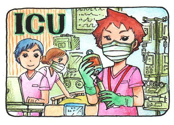 ICUで働く看護師のイラスト