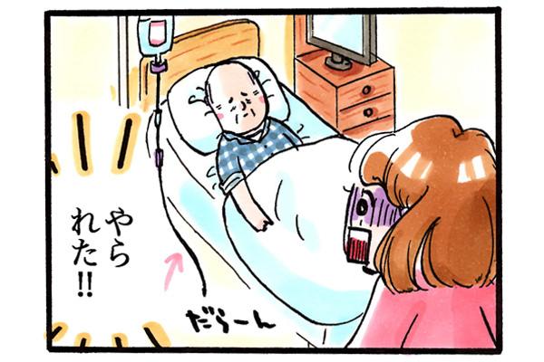 患者がラインを抜去して、看護師は呆然