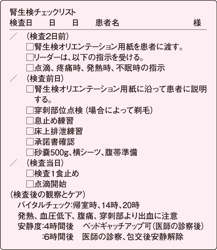 腎生検チェックリスト(昭和大学病院使用例)