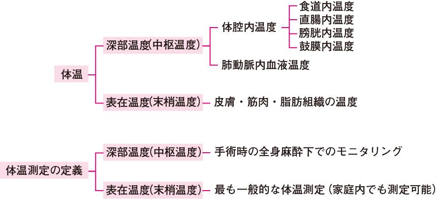 体温の分類と体温測定の定義