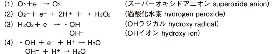 O<sub>2</sub>の4電子還元