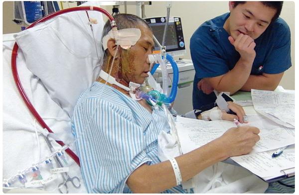 人工呼吸器とECMO管理下でも覚醒して過ごす様子