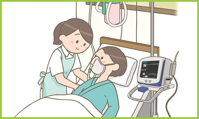 ベッドに横になる患者と寄り添う看護師のイラスト