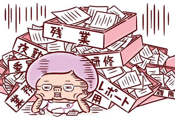 仕事量に押しつぶされる看護師のイラスト