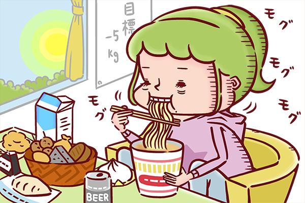自宅で眠そうにカップラーメンをすする看護師のイラスト