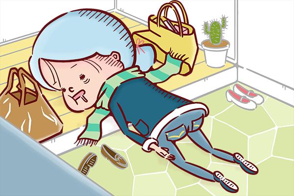 帰宅し、玄関に倒れ込んで眠る看護師のイラスト