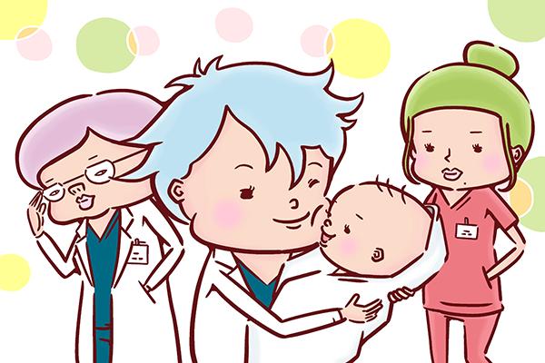 赤ちゃんに頬ずりをする意思とそれを見守る看護師のイラスト