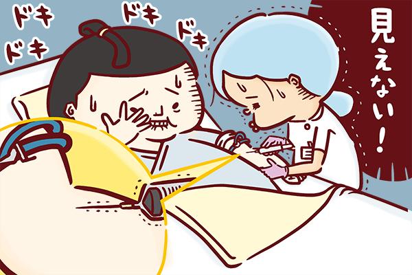 不安そうに採血を見守る力士と、見えづらい血管の採血に緊張する看護師のイラスト。