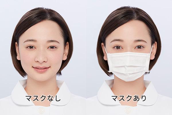 化粧崩れしにくいメイクをした看護師のマスクをした顔とマスクをしていない顔の比較写真