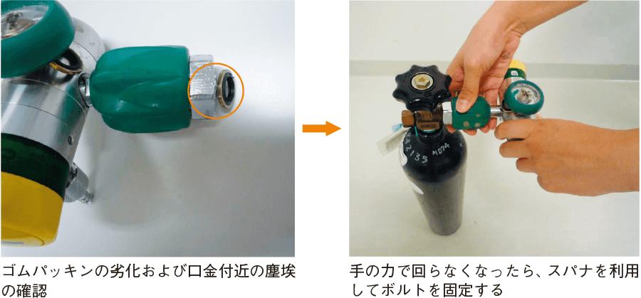 酸素流量計・圧力計の接続法