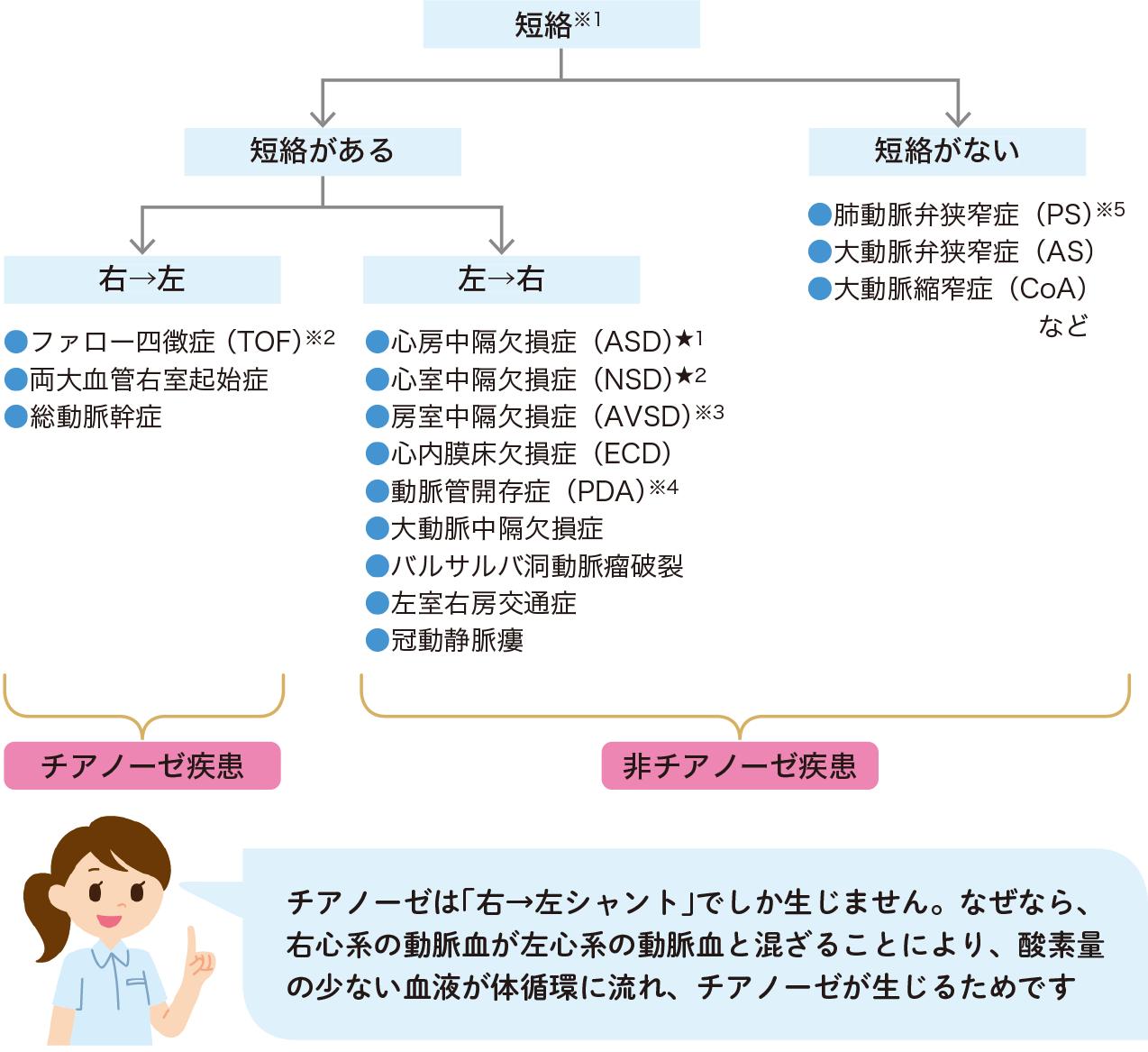 先天性心疾患の短絡の有無での分類方法