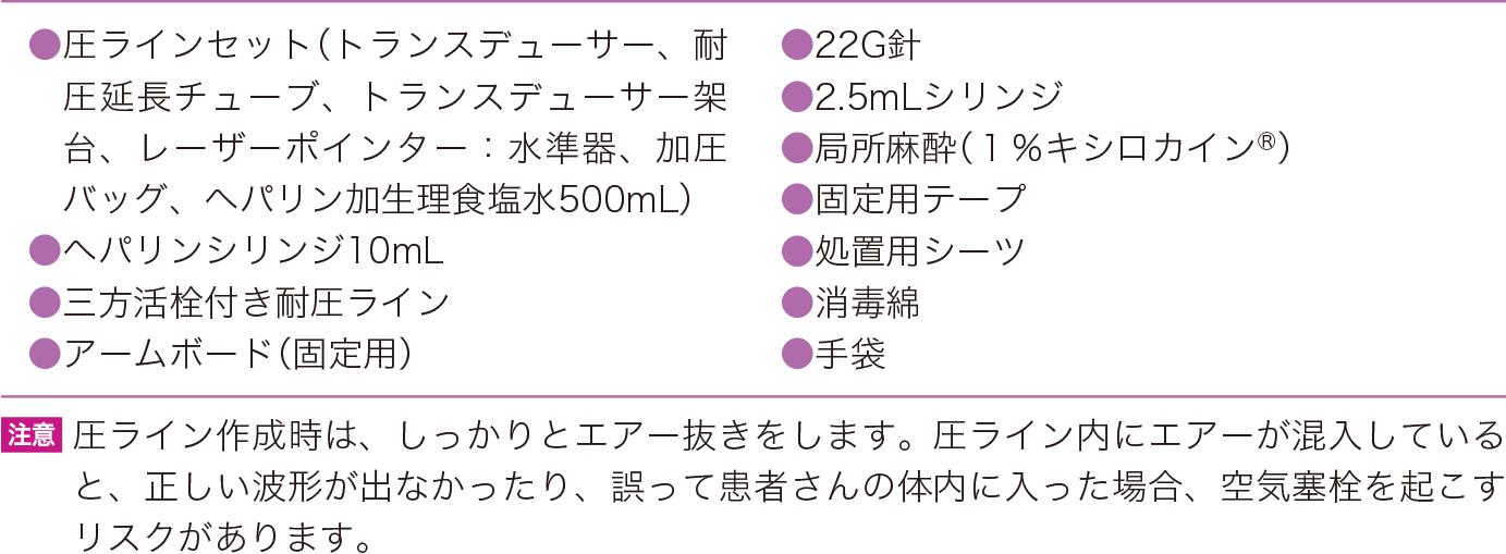 動脈血ライン測定の必要物品