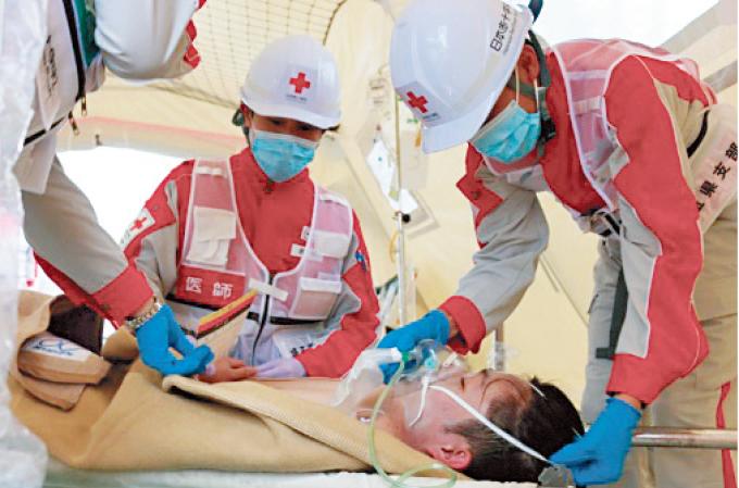 応急救護所における災害救護活動の訓練