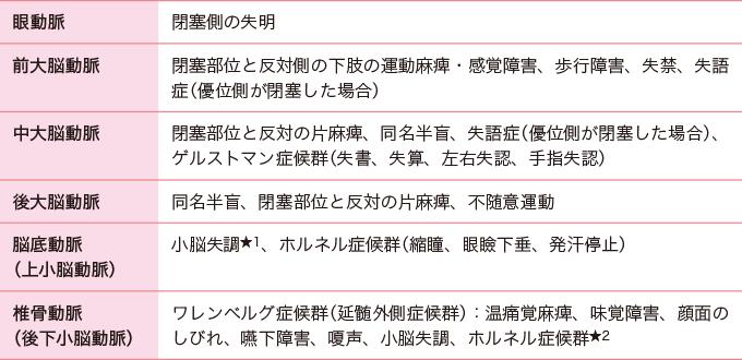 表3閉塞血管と症状の例