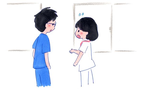 退院調整看護師が医師に相談するイラスト