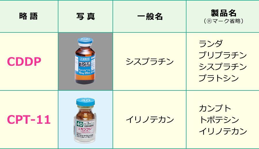 シスプラチン+イリノテカン療法で使用する薬剤