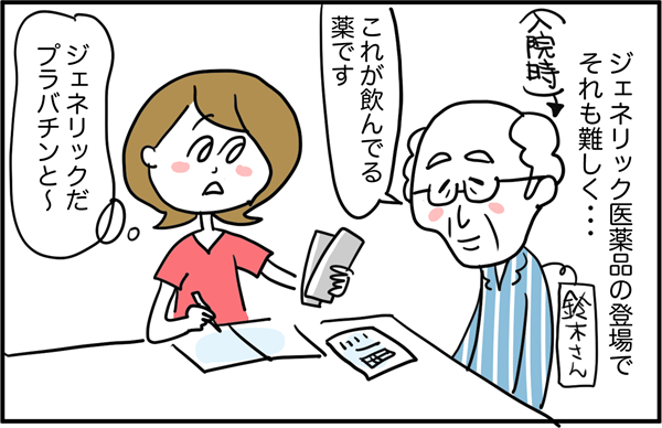 ジェネリック医薬品の登場でそれも難しく…。鈴木さんというおじいちゃんの入院時、「これが飲んでる薬です」と渡されたのは、ジェネリック医薬品でした。